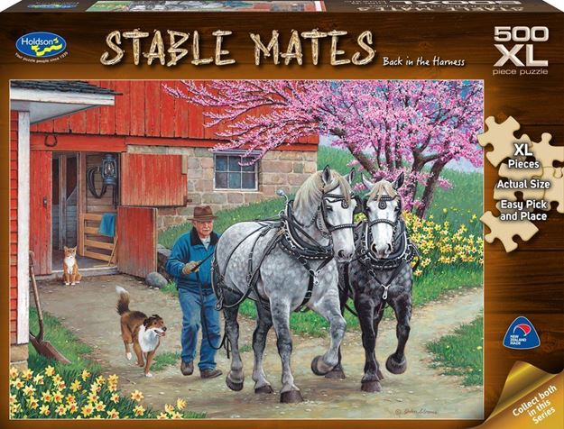 Picture of Holdson Puzzle - Stable Mates 500pc XL (Back in the Harness)