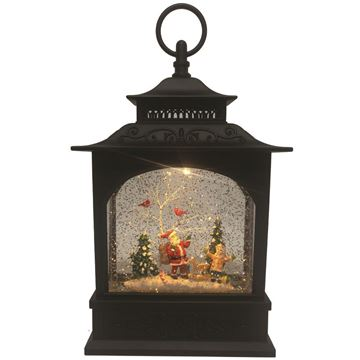 Picture of Cotton Candy Black Lantern - Santa & Child