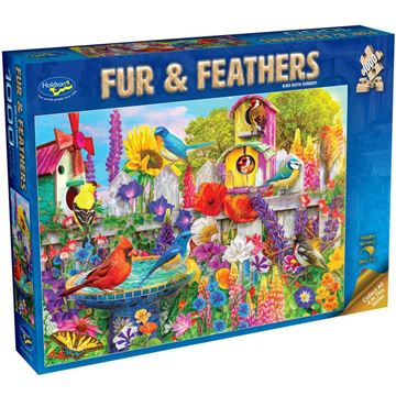 Picture of Holdson Bargain Puzzle - Fur & Feathers, 1000pc (Bird Bath Garden)
