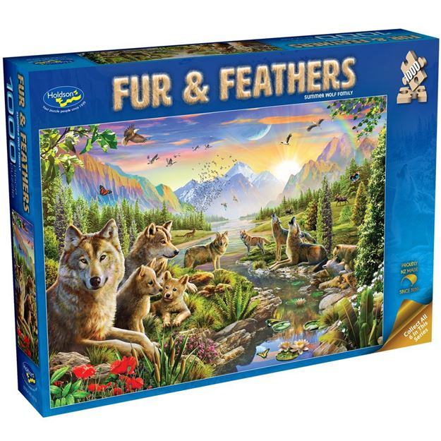 Picture of Holdson Bargain Puzzle - Fur & Feathers, 1000pc (Summer Wolf Family)