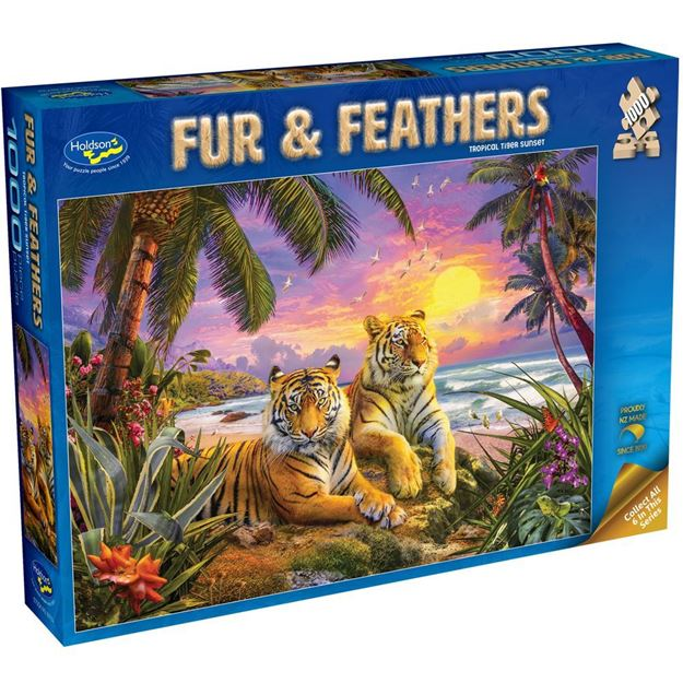 Picture of Holdson Bargain Puzzle - Fur & Feathers, 1000pc (Tropical Tiger Sunset)